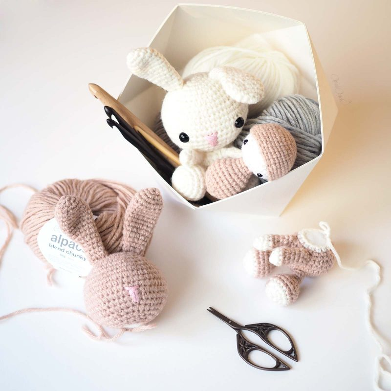 geometric box kamidesign crochet lapin bunnies doudou laboutiquedemelimelo