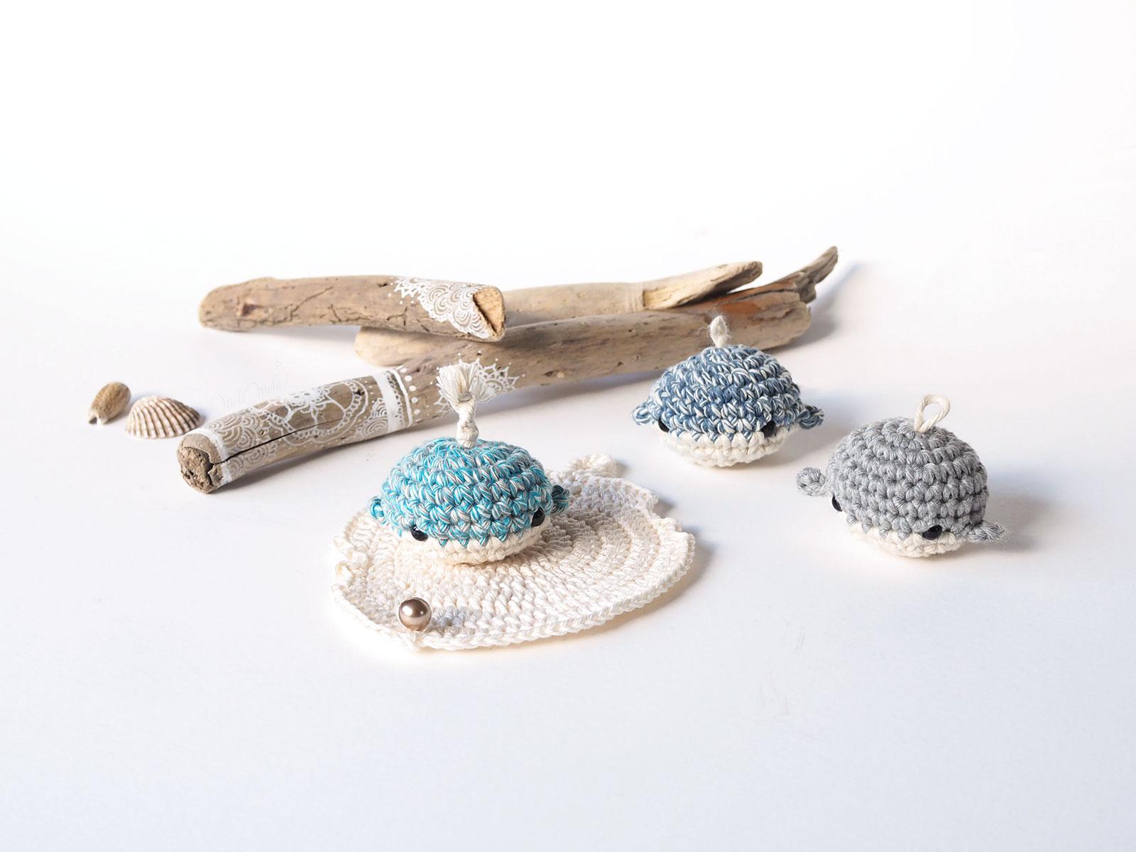 mini baleines bois flottés crochet coquillage perle nacré Swarovski woolandthegang Lalylala laboutiquedemelimelo