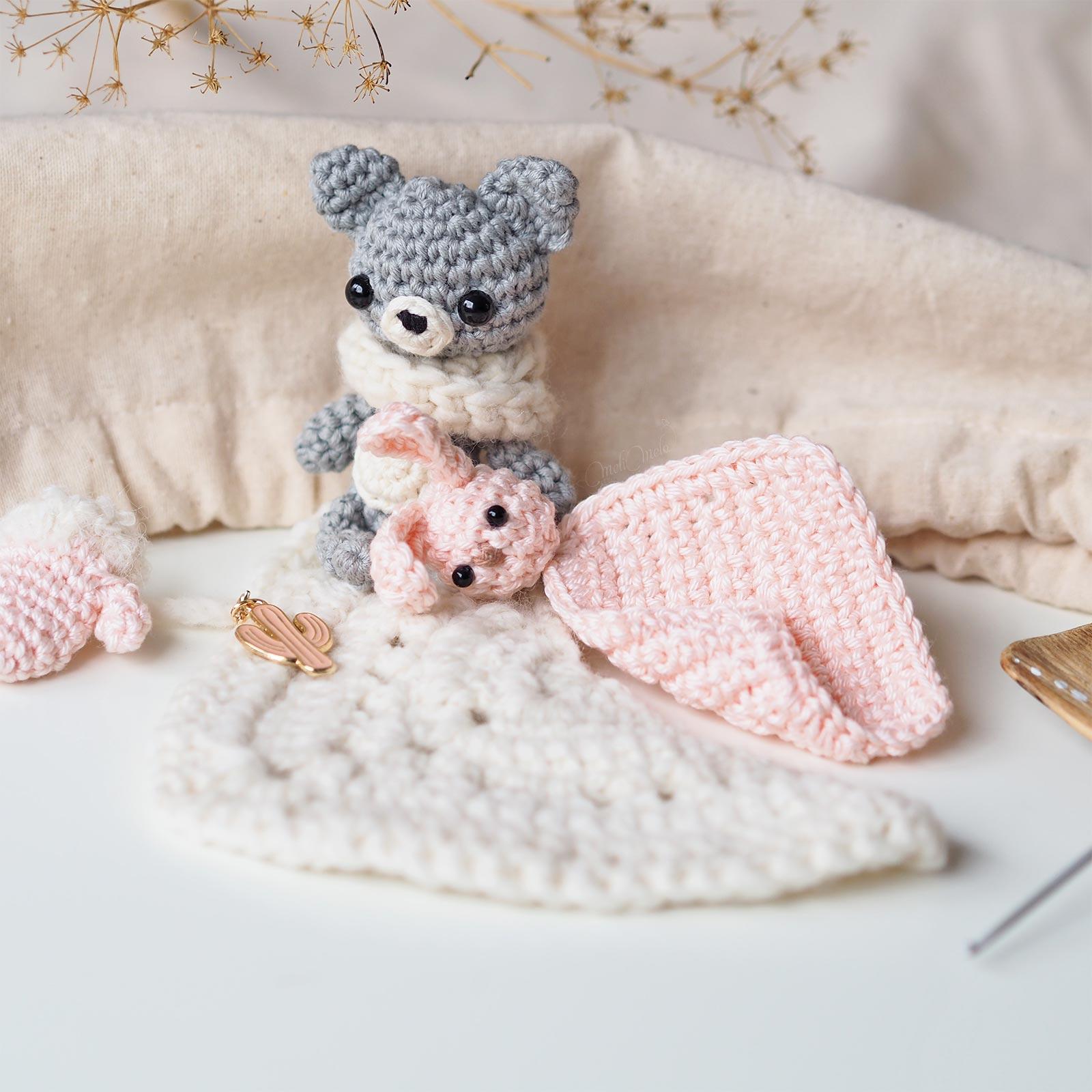 crochet mini doudou lapin ourson tiny toys Boutique MeliMelo