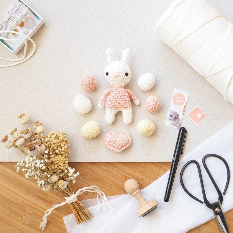 crochet mini lapin coeur oeufs printemps Pâques laboutiquedemelimelo