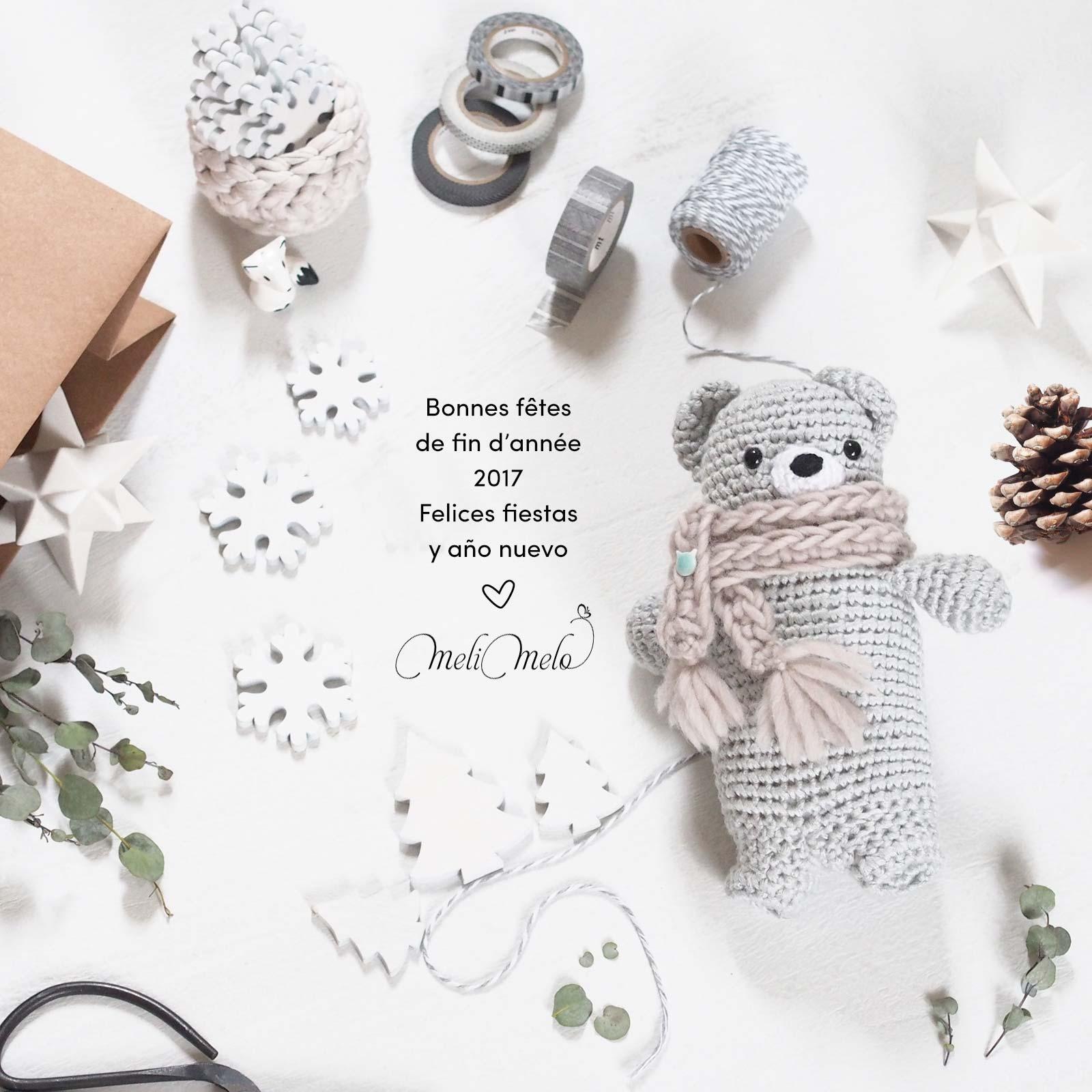 crochet ourson bonnes fêtes 2017 laboutiquedemelimelo