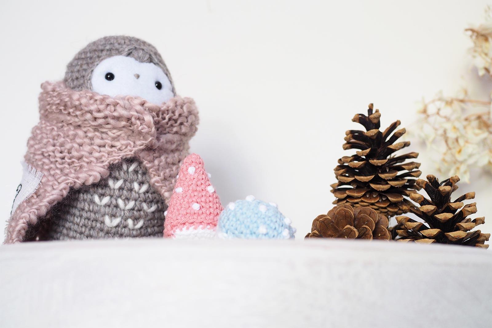 crochet owl chouette lutine champignons serial crocheteuses 452 automne mafabriquebykaro laboutiquedemelimelo