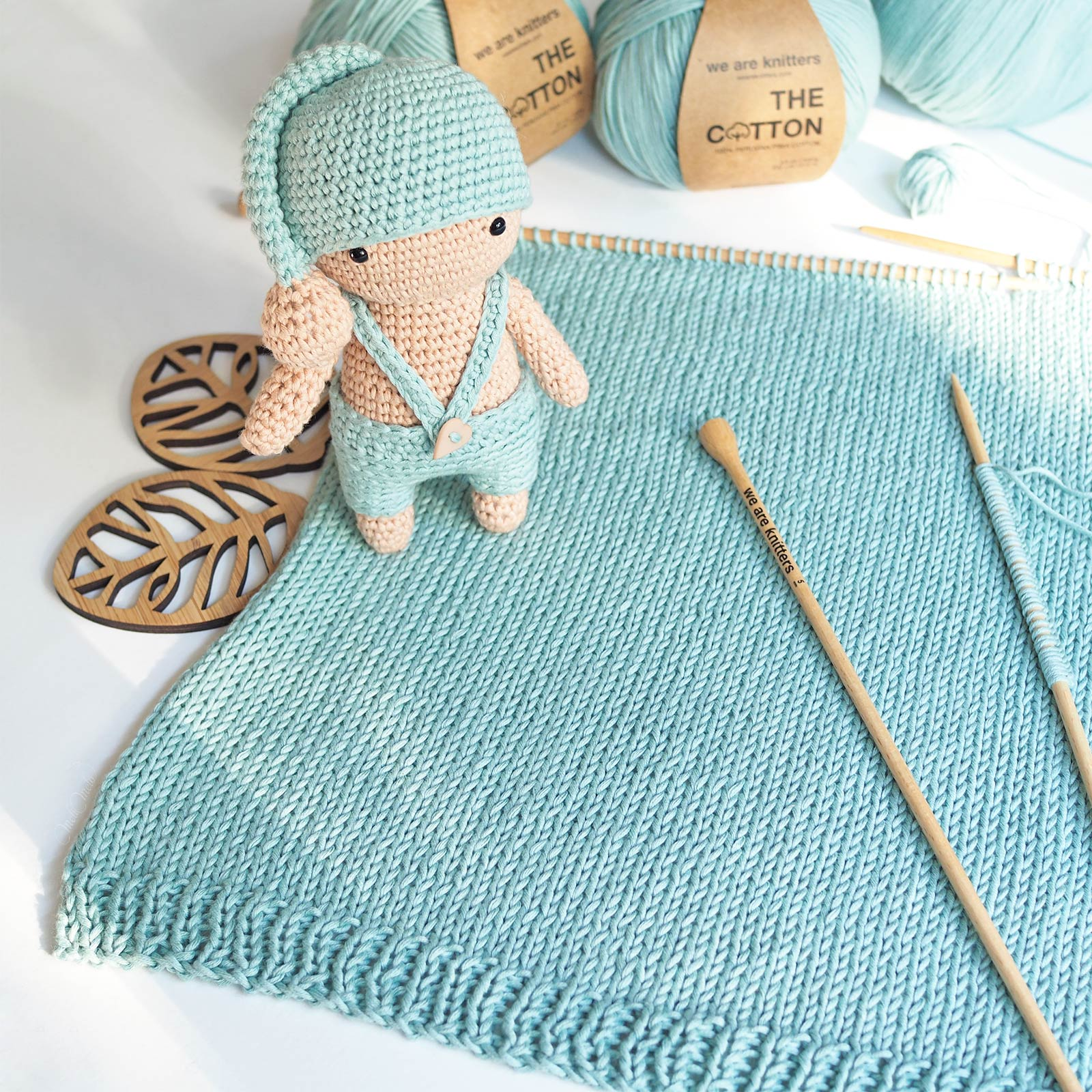 crochet petit dormeur tricot coton Pima aquamarine weareknitters laboutiquedemelimelo