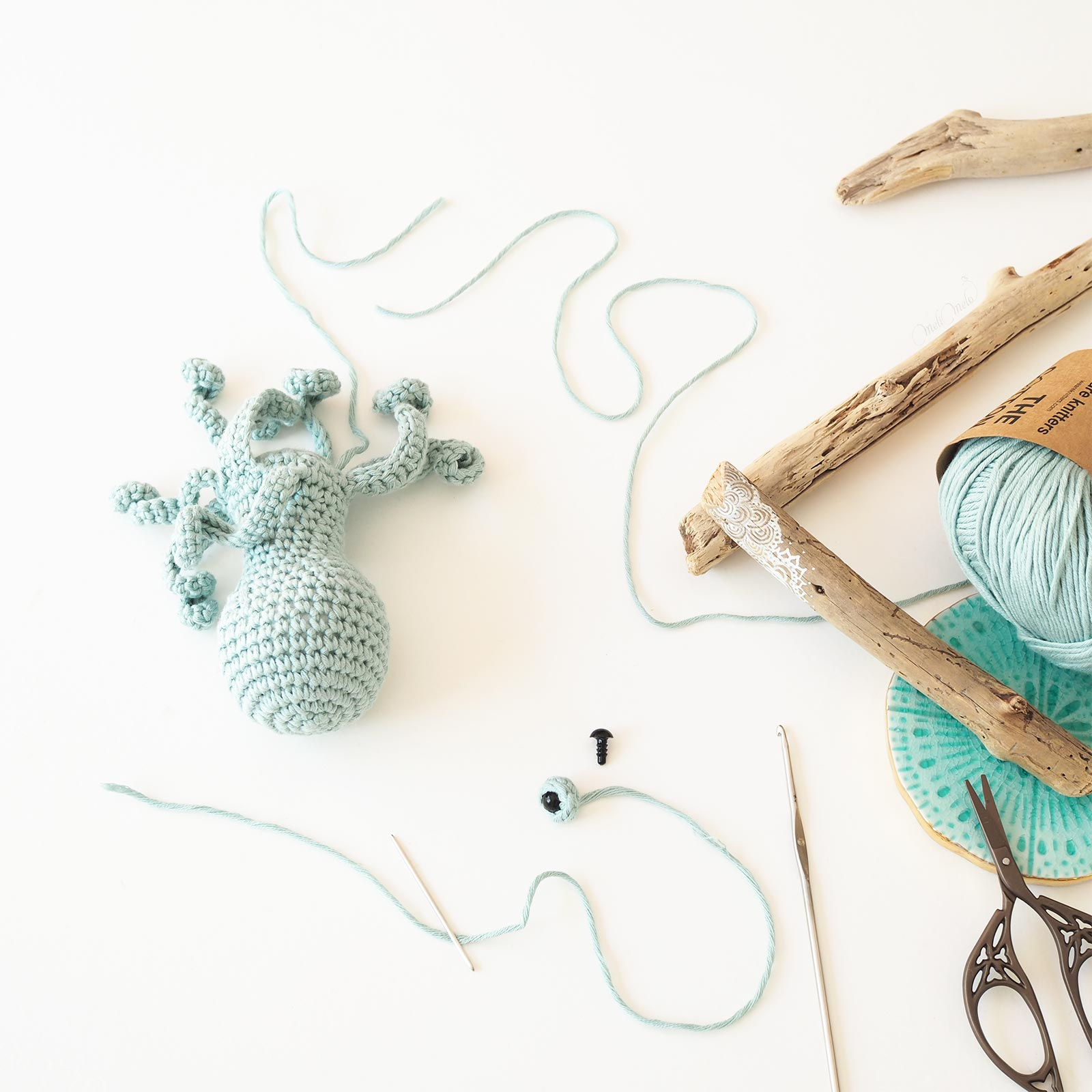 crochet poulpe encours The Cotton wak We are Knitters laboutiquedemelimelo