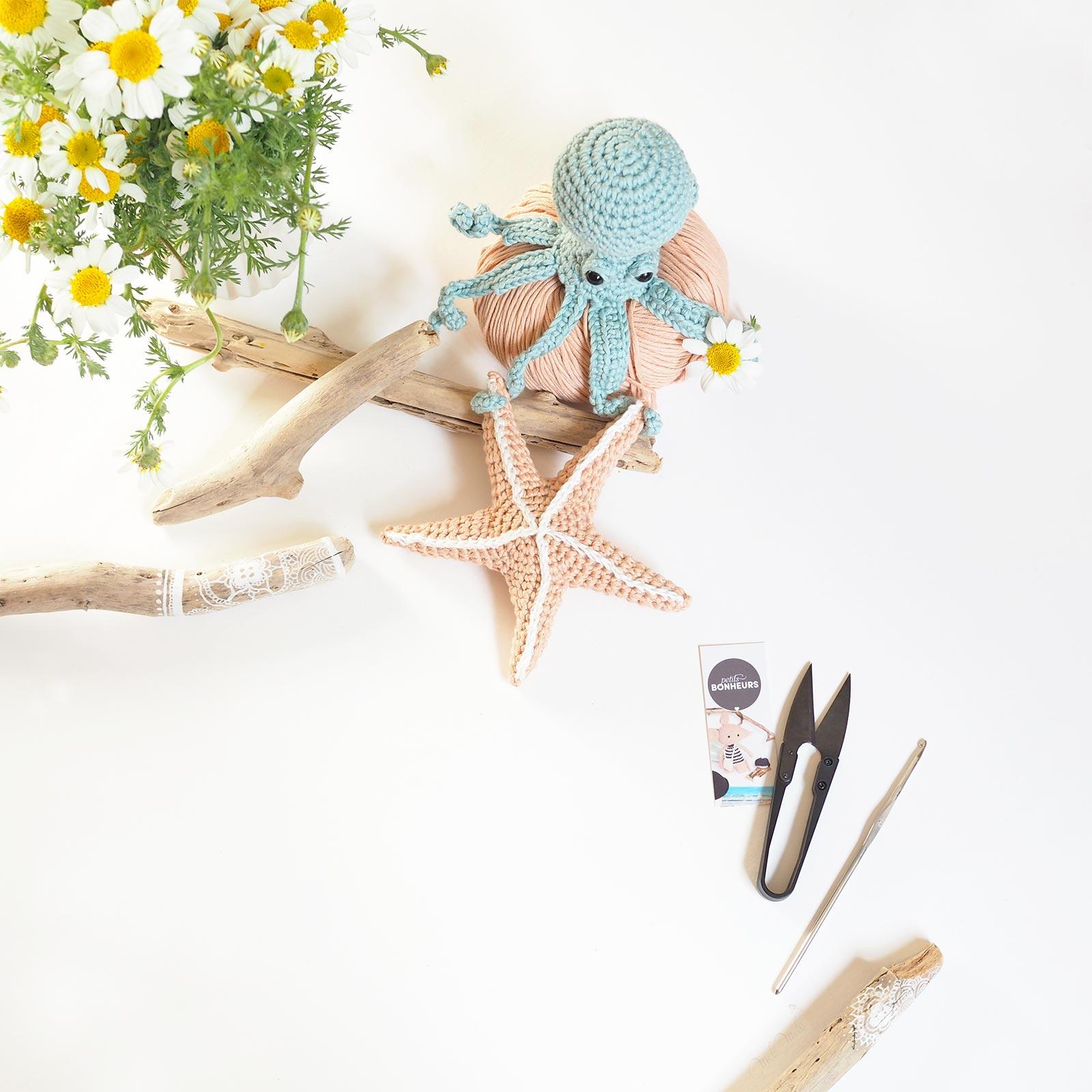 crochet poulpe étoile de mer marguerites laboutiquedemelimelo