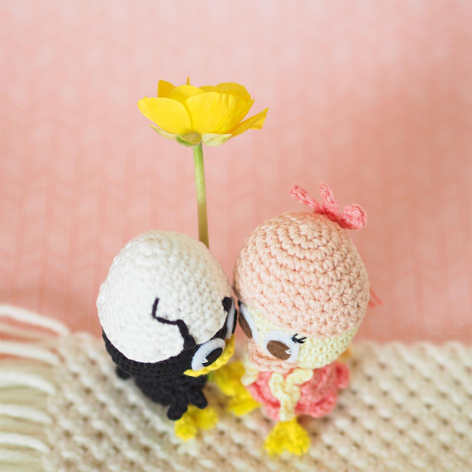 crochet poussins Calimero Priscilla amoureux laboutiquedemelimelo