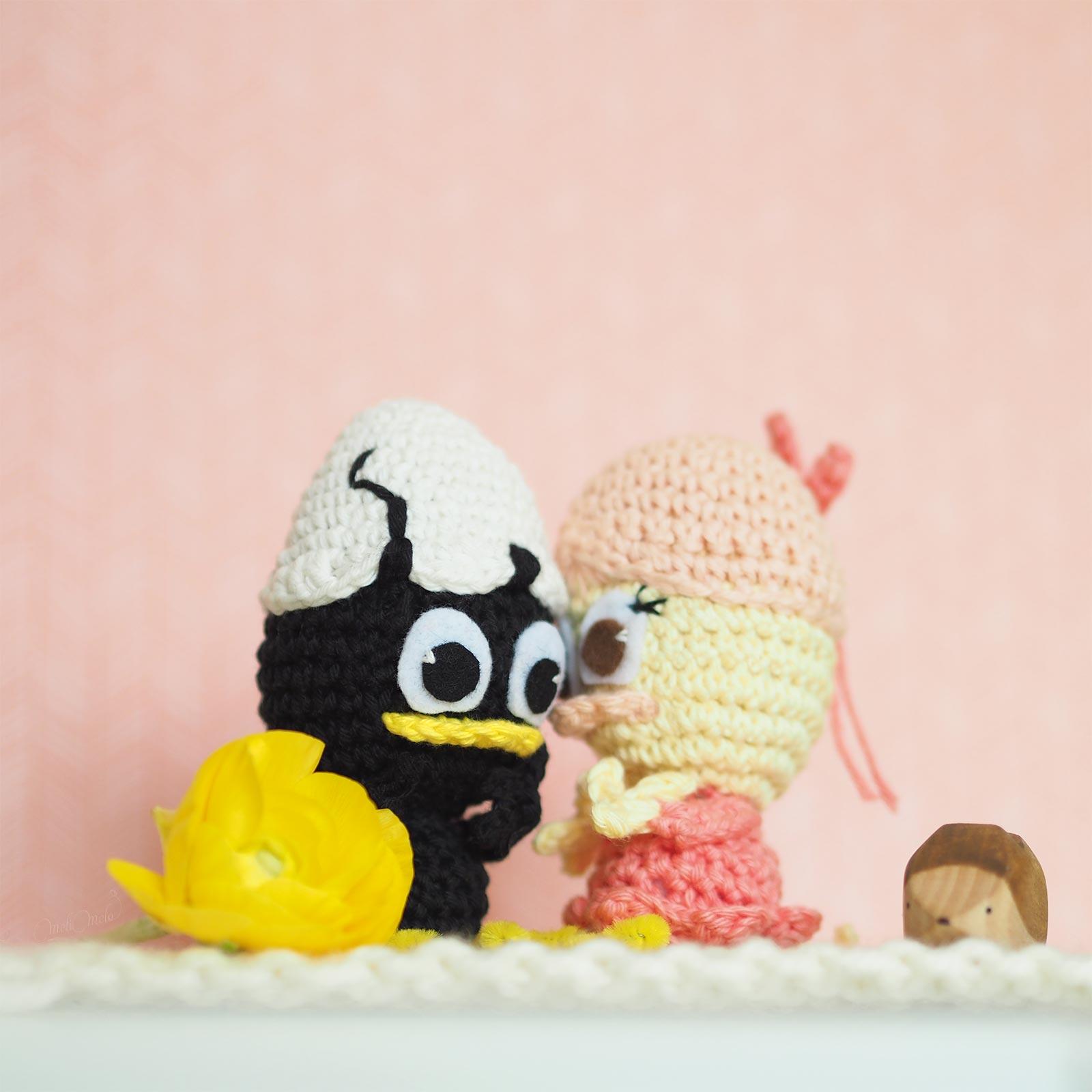 crochet poussins Calimero Priscilla hérisson bois brindours laboutiquedemelimelo