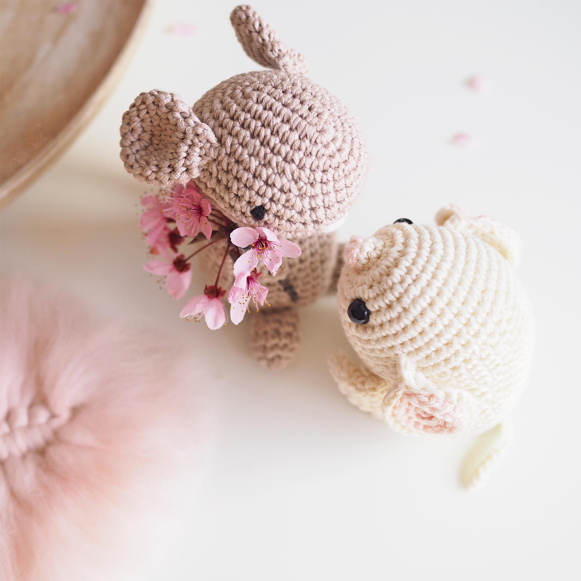 crochet rat souris mouse love amour fleurs prunus Boutique MeliMelo