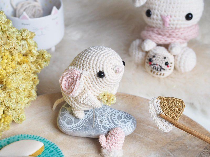 crochet amigurumis souris blanche daruma lapin kawai calissons Boutique MeliMelo