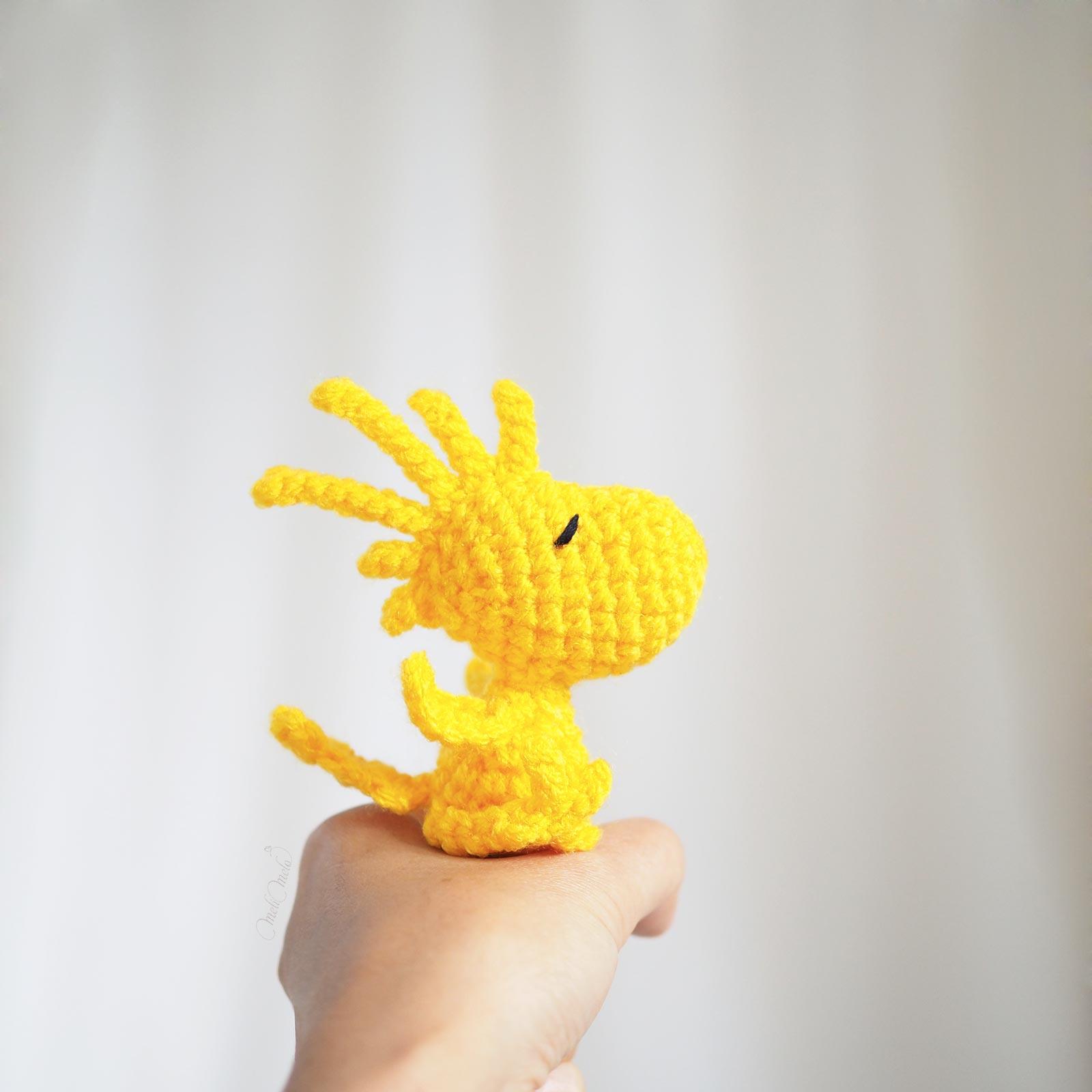 crochetbymelimelo amigurumi Woodstock Peanuts happycrochetetc canari jaune taille laboutiquedemelimelo