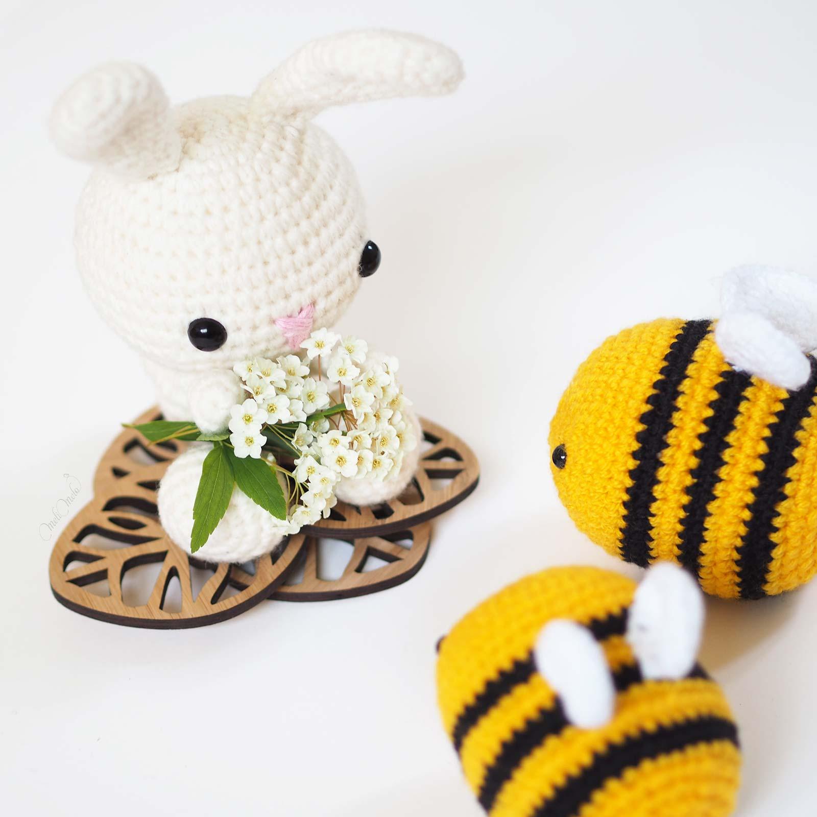 crochetbymelimelo crochet amigurumis lapin spring bunny allaboutami abeilles bees kikalite laboutiquedemelimelo
