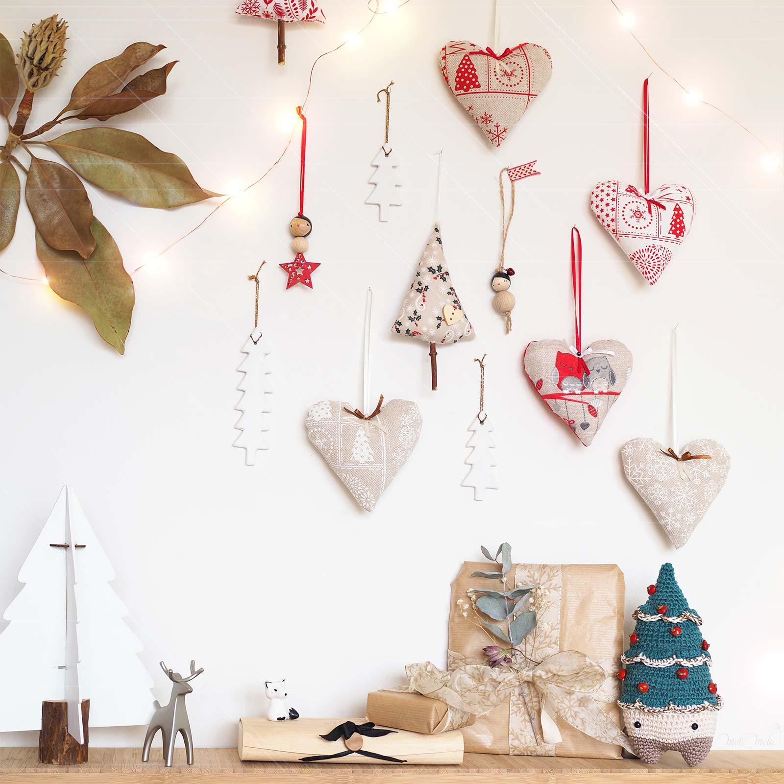 déco murale Noël lin coeurs sapin crochet céramique nature laboutiquedemelimelo