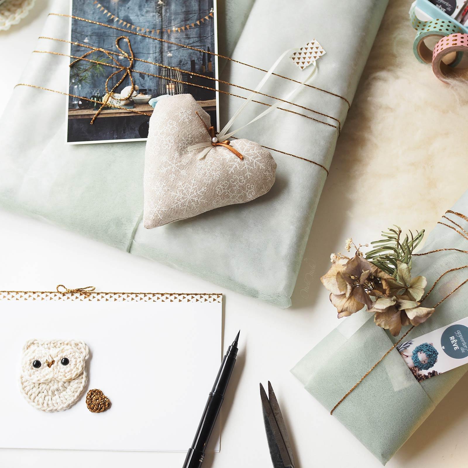 déco Noël paquet cadeaux Coeurs de Chouette créations en lin laboutiquedemelimelo