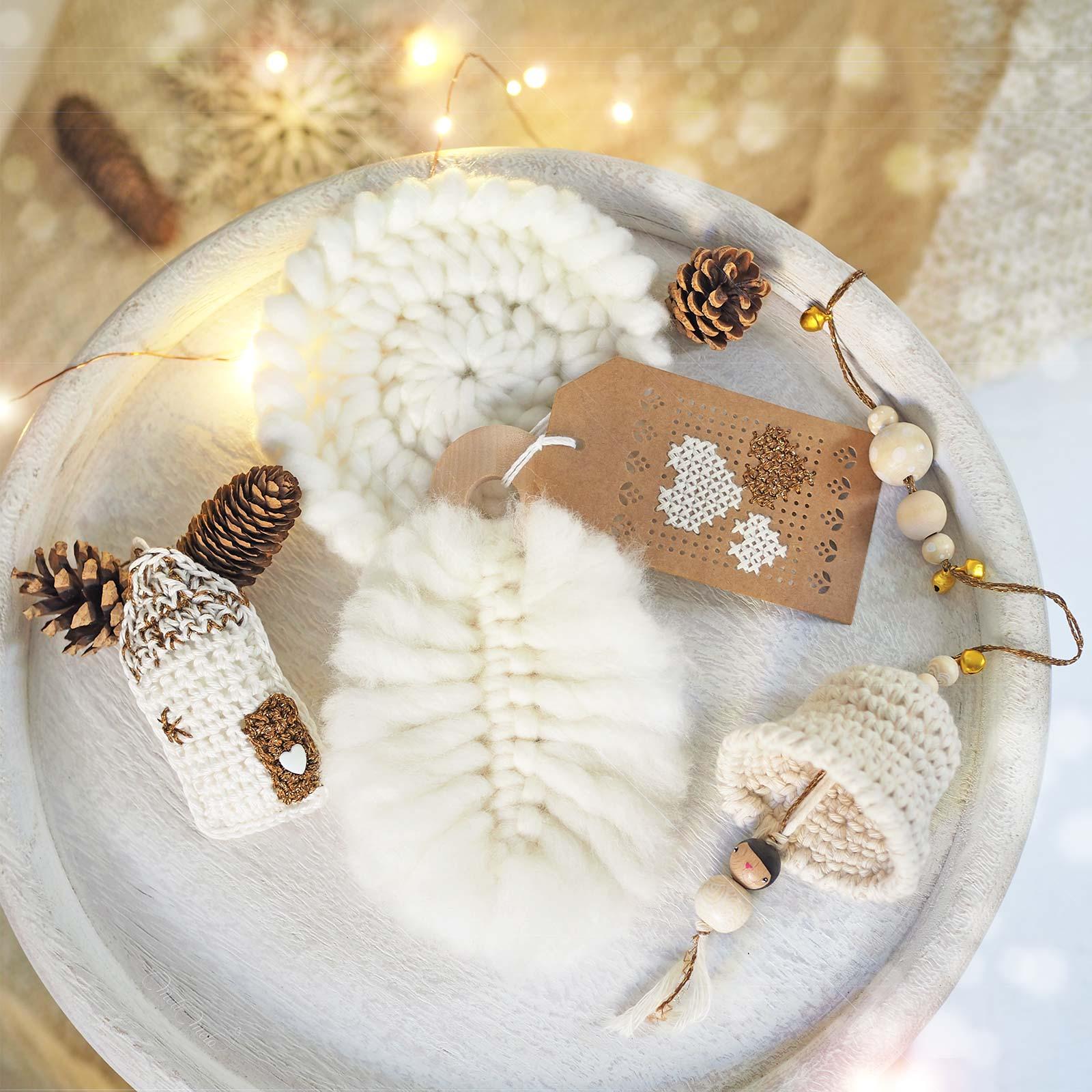 décoration noël crochet blanc or crochet plume macramé coeur maison laboutiquedemelimelo