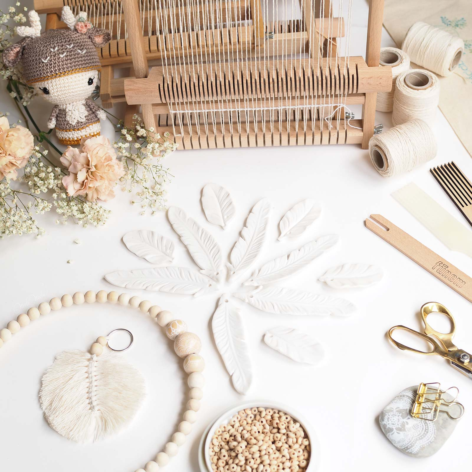 défi tissage instagram plumes céramique perles bois laboutiquedemelimelo