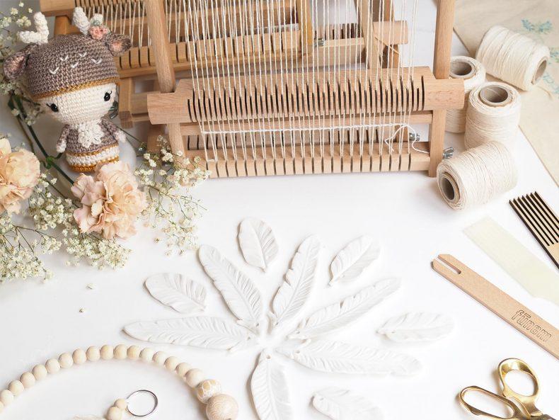 défi tissage plume céramique macramé perles bois laboutiquedemelimelo
