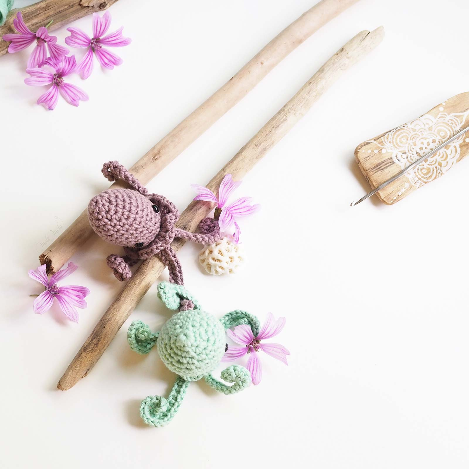 diy crochet amigurumis poulpes The Cotton Wool We Are Knitters mint malva laboutiquedemelimelo