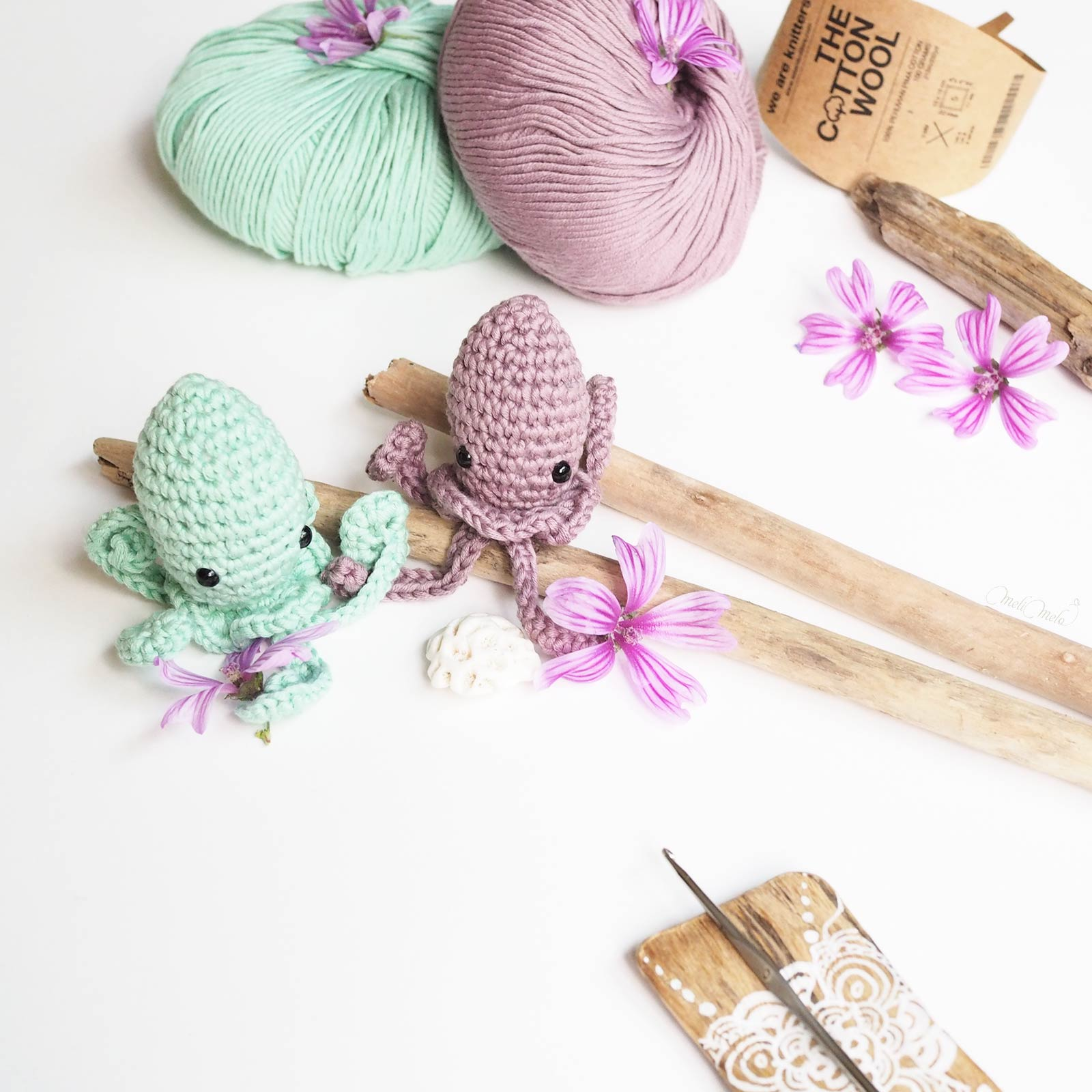 diy crochet amigurumis poulpes The Cotton Wool We Are Knitters mint mauve laboutiquedemelimelo