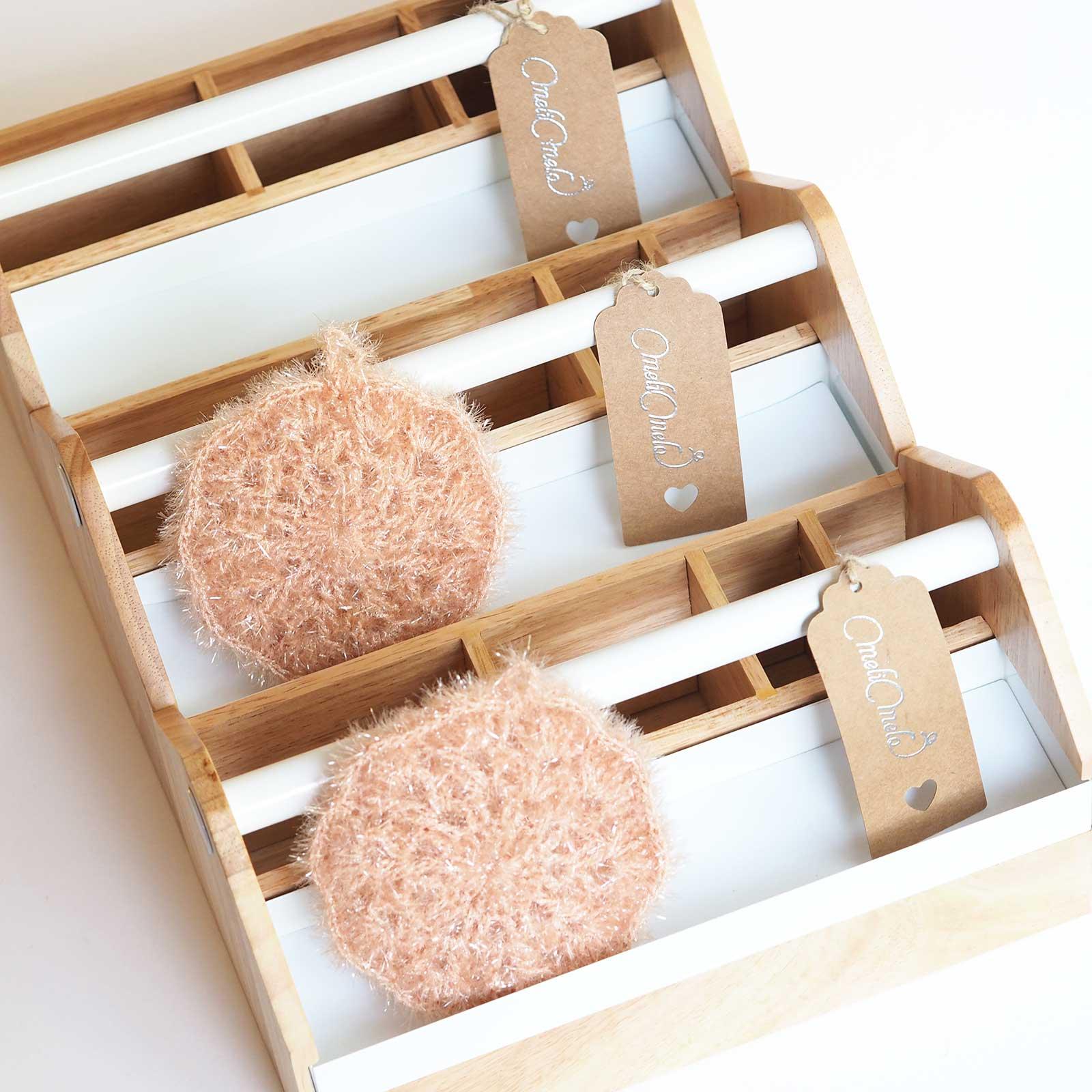 éponge tawashi fleur crochet creative bubble ricodesign boites rangement outils laboutiquedemelimelo