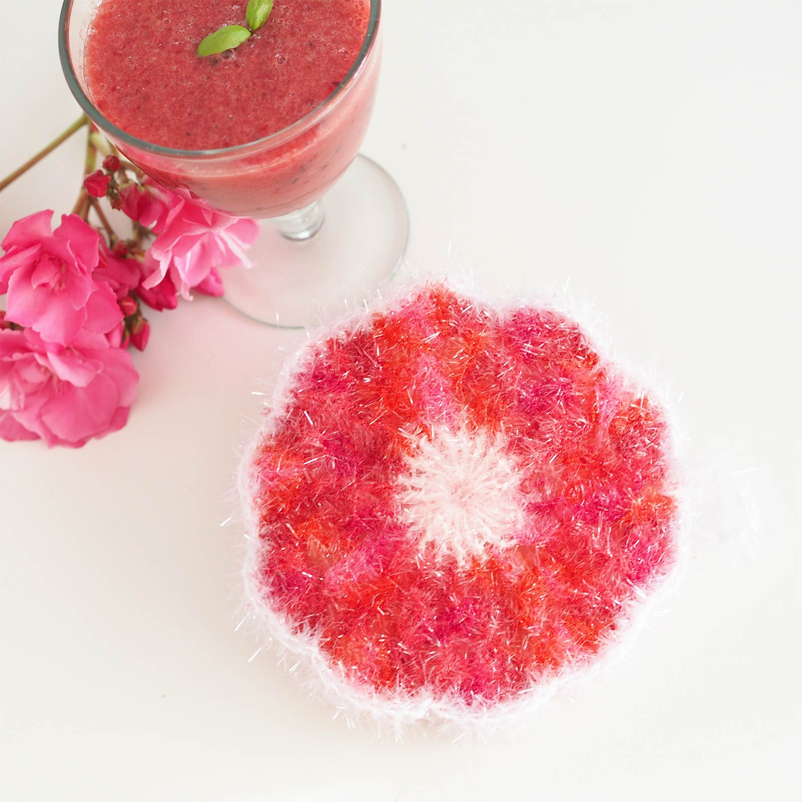 diy éponge tawashi crochet fleur coquelicot boisson pastèque laboutiquedemelimelo