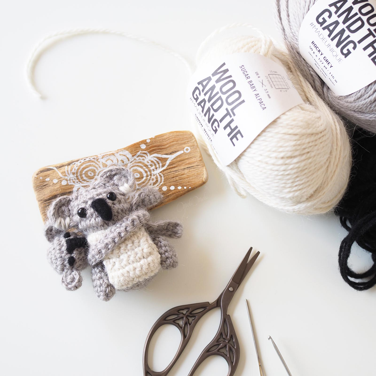 diy crochet koala mummy baby material Sugar Baby Alpaca Wool and the Gang Boutique MeliMelo