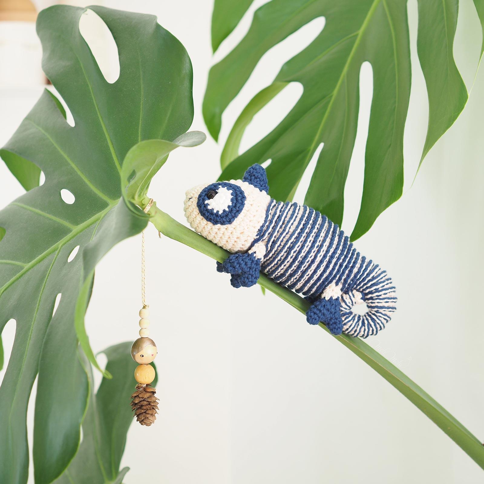 lespoisplumes doudou caméléon marinière crochet monstera deliciosa laboutiquedemelimelo