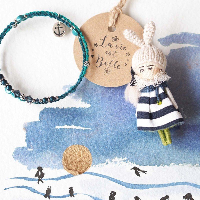 bijoux bohème duo bracelet fin Swarovski broche poupée robe marinière bleu teal turquoise laboutiquedemelimelo