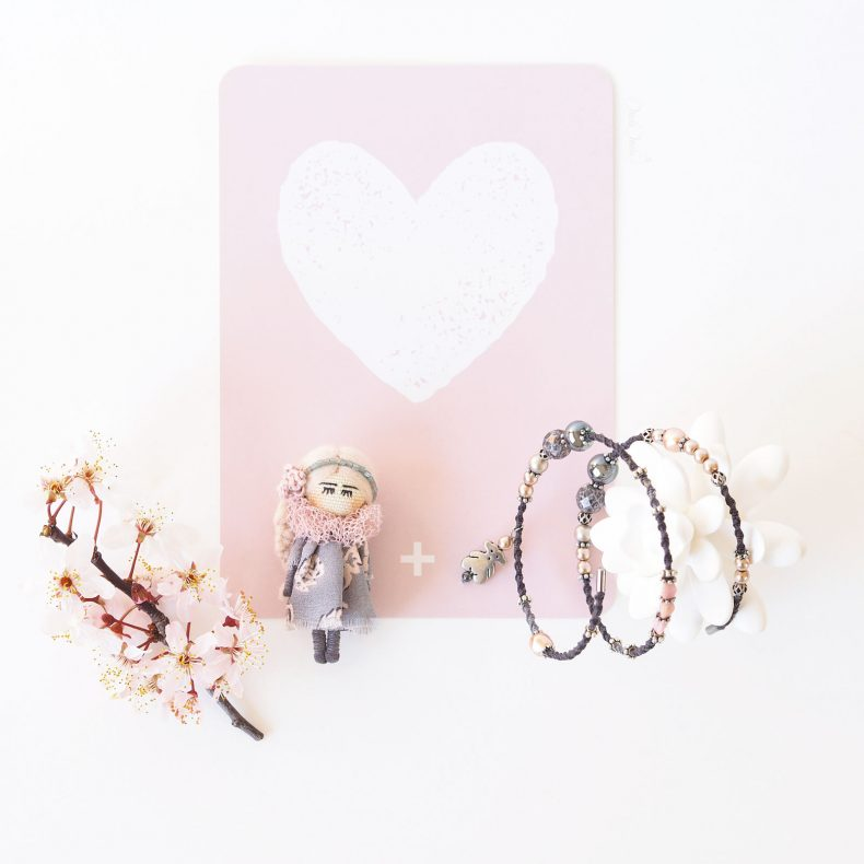 duo romantique broche poupée bracelet ourson rose hématite cinqmai love laboutiquedemelimelo