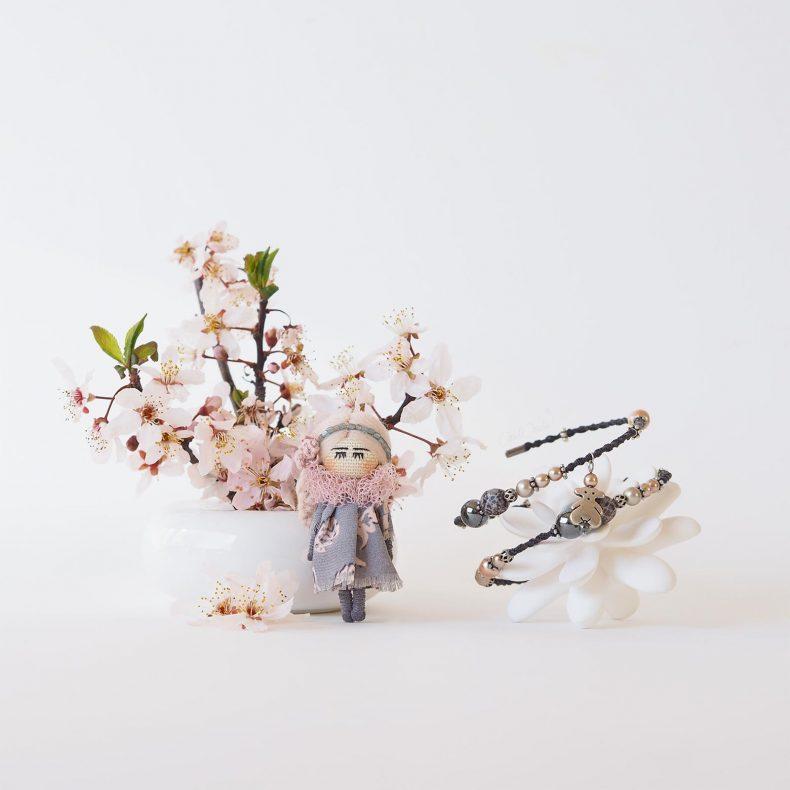 duo romantique broche poupée bracelet ourson rose hématite laboutiquedemelimelo