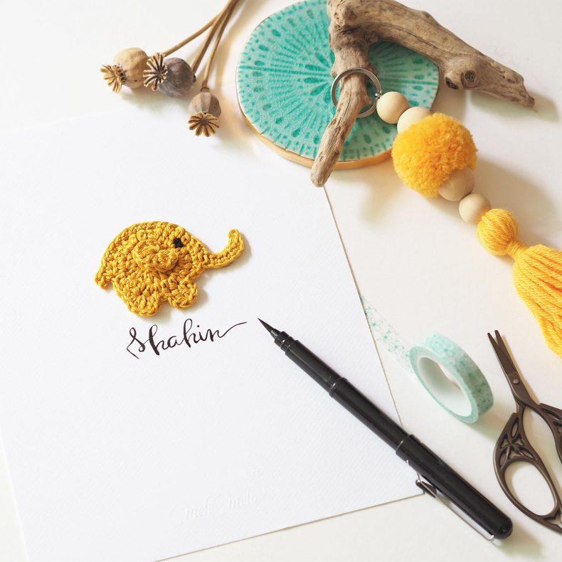 Affiche calligraphiée éléphant crochet Shalin La Boutique de MeliMelo