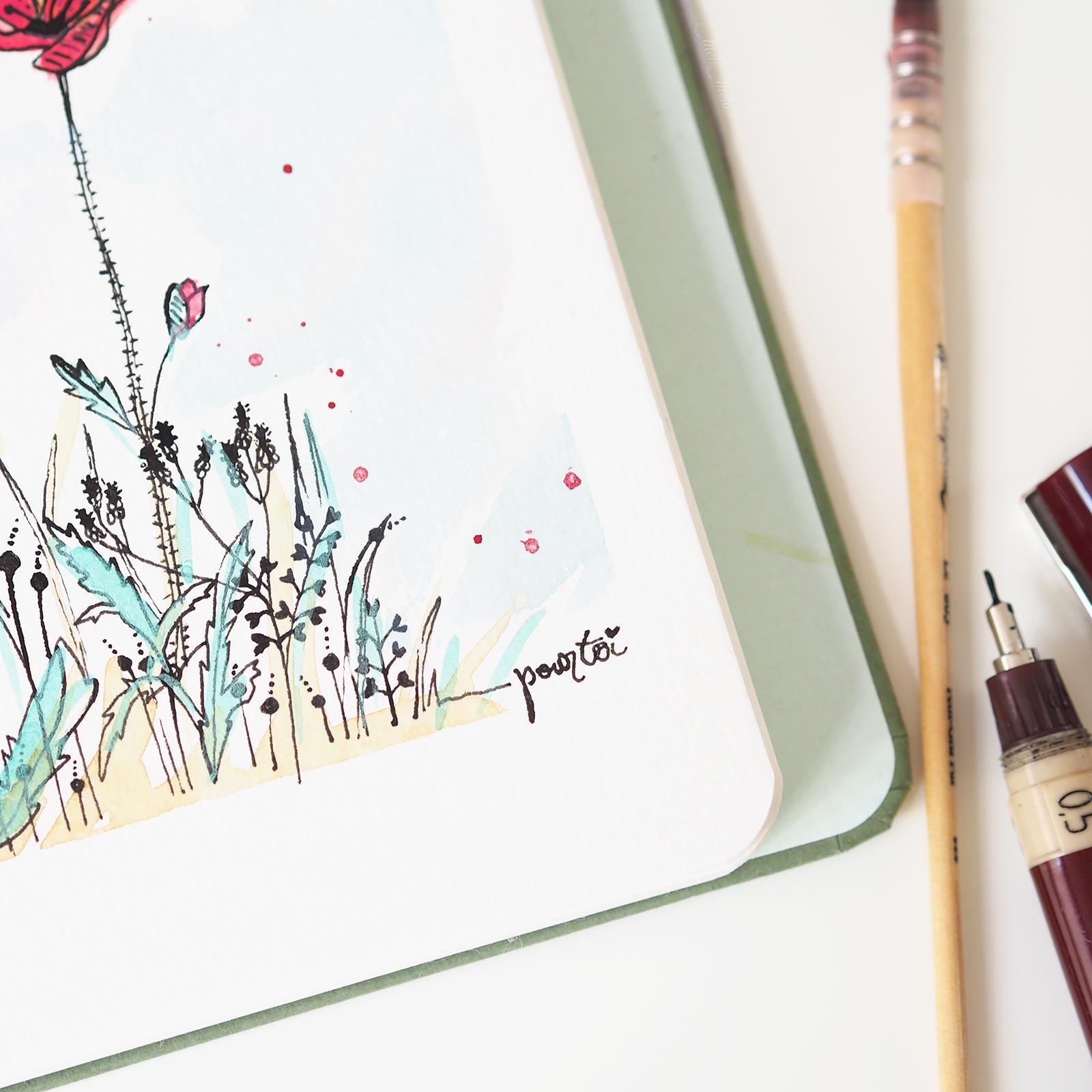 poppies -aquarelle-watercolor-pastel-dreams-confections laboutiquedemelimelo