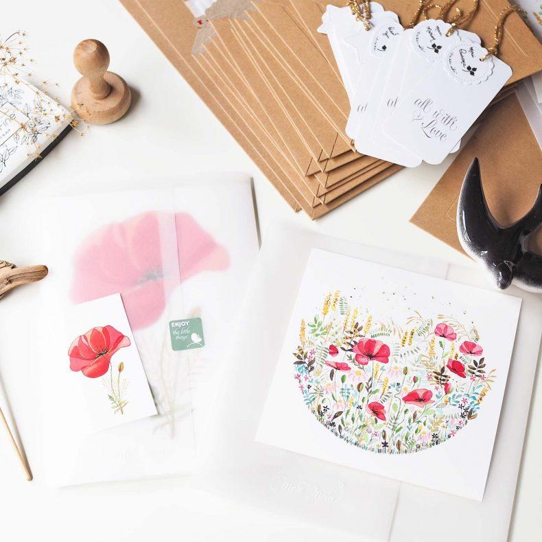 envoi-illustration-aquarelle-coquelicot-herbes-folles-laboutiquedemelimelo