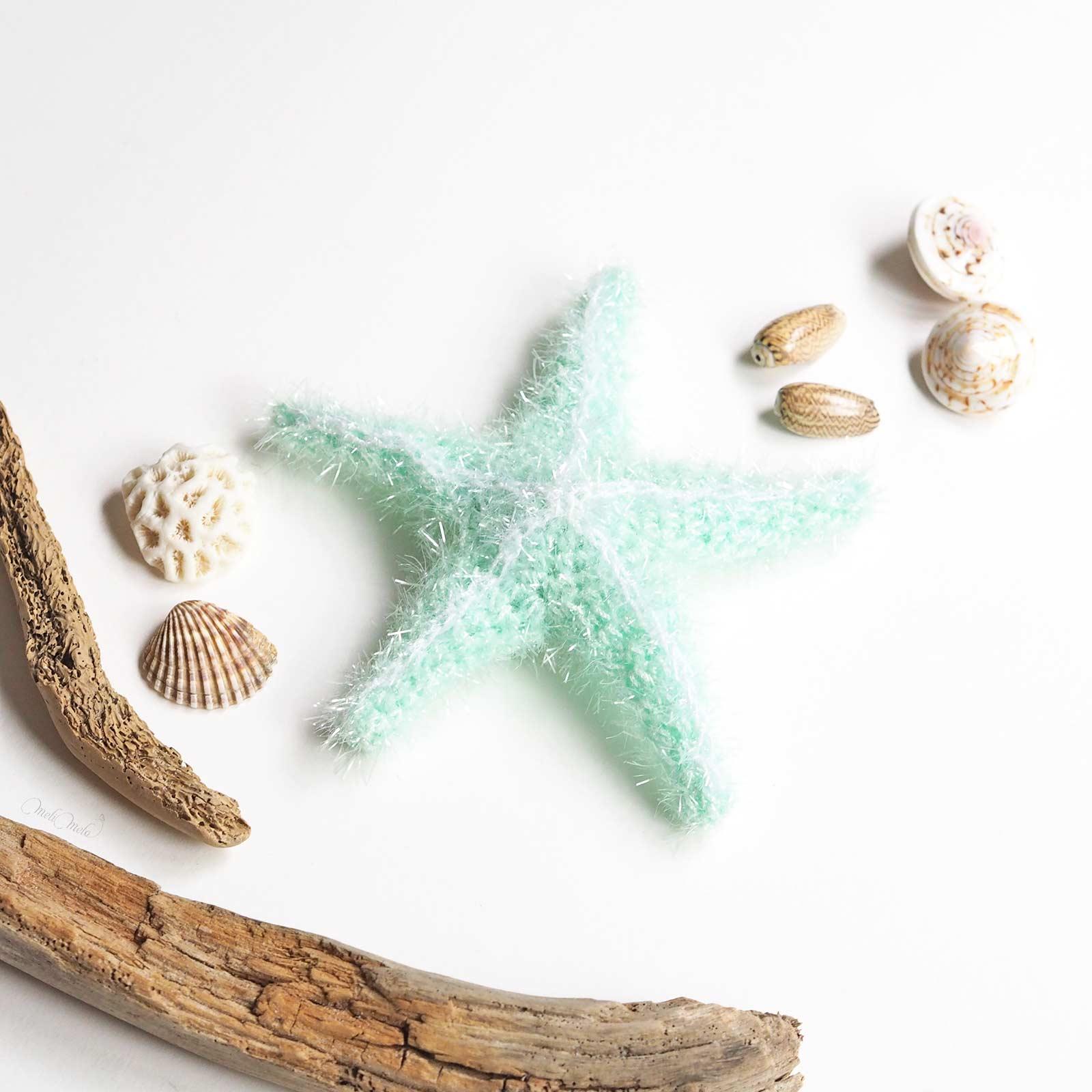 éponge tawashi exfoliante pour corps étoile de mer côté face starfish mint laboutiquedemelimelo