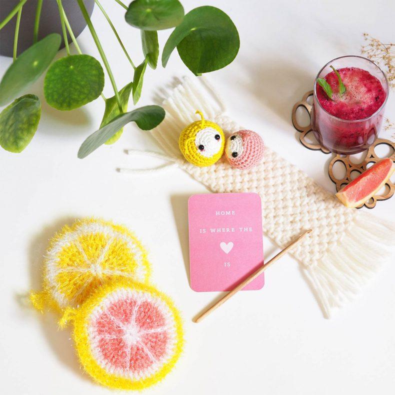 éponge tawashi pamplemousse citron puceron crochet amulette de poche mélimélothé laboutiquedemelimelo