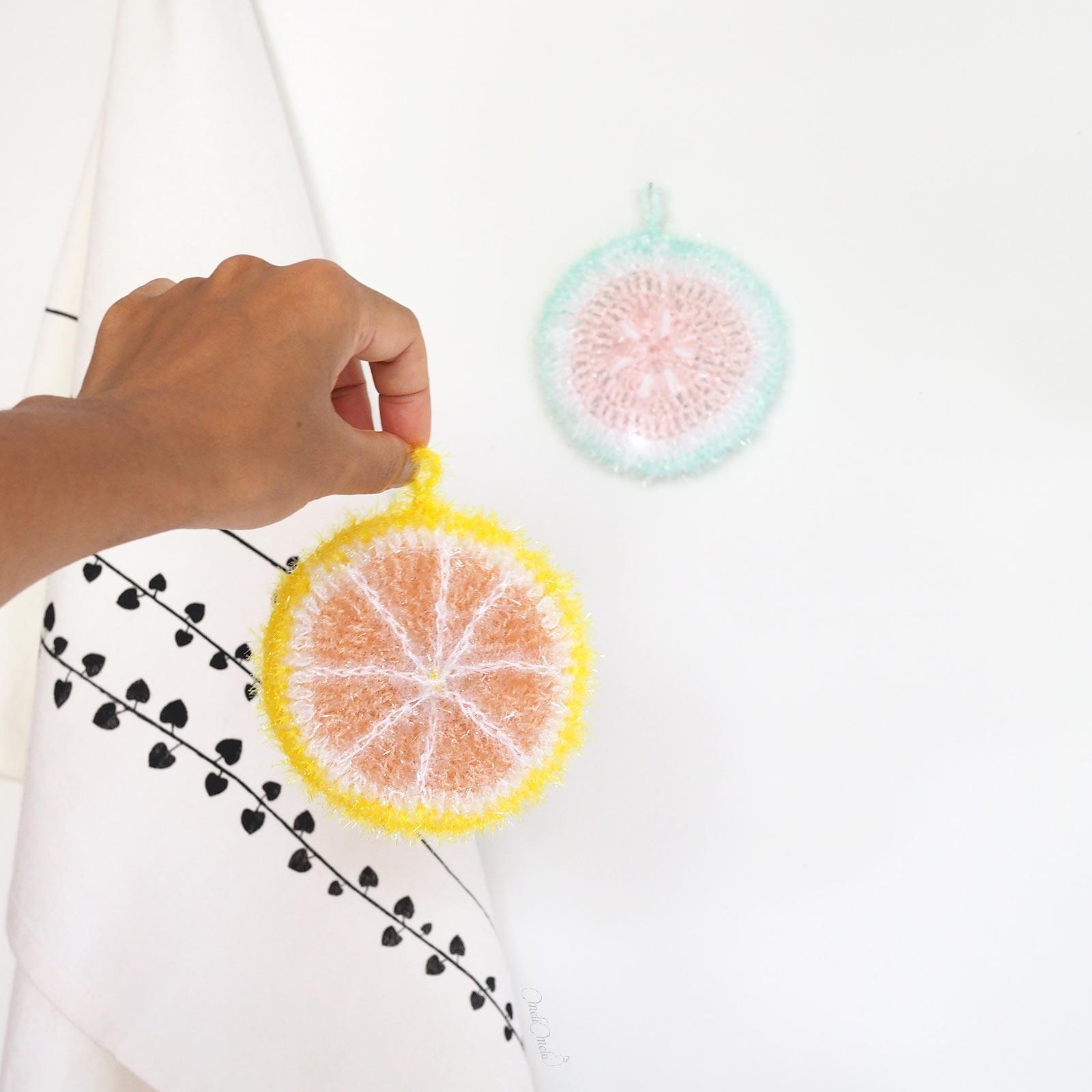 Éponge Tawashi pamplemousse taille creative bubble rico design laboutiquedemelimelo