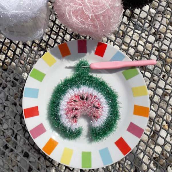 DIY crochet tawashi eponge pasteque DIYmelimelo Creative Bubble laboutiquedemelimelo