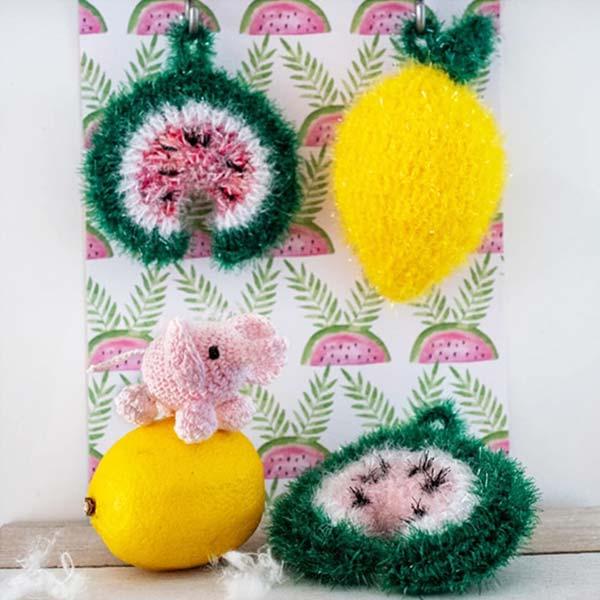 crochet tawashi éponge pastèque citron DIYmelimelo Creative Bubble laboutiquedemelimelo