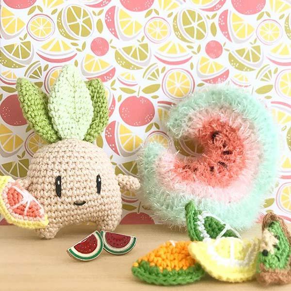 crochet tawashi éponge pastèque DIYmelimelo Creative Bubble laboutiquedemelimelo