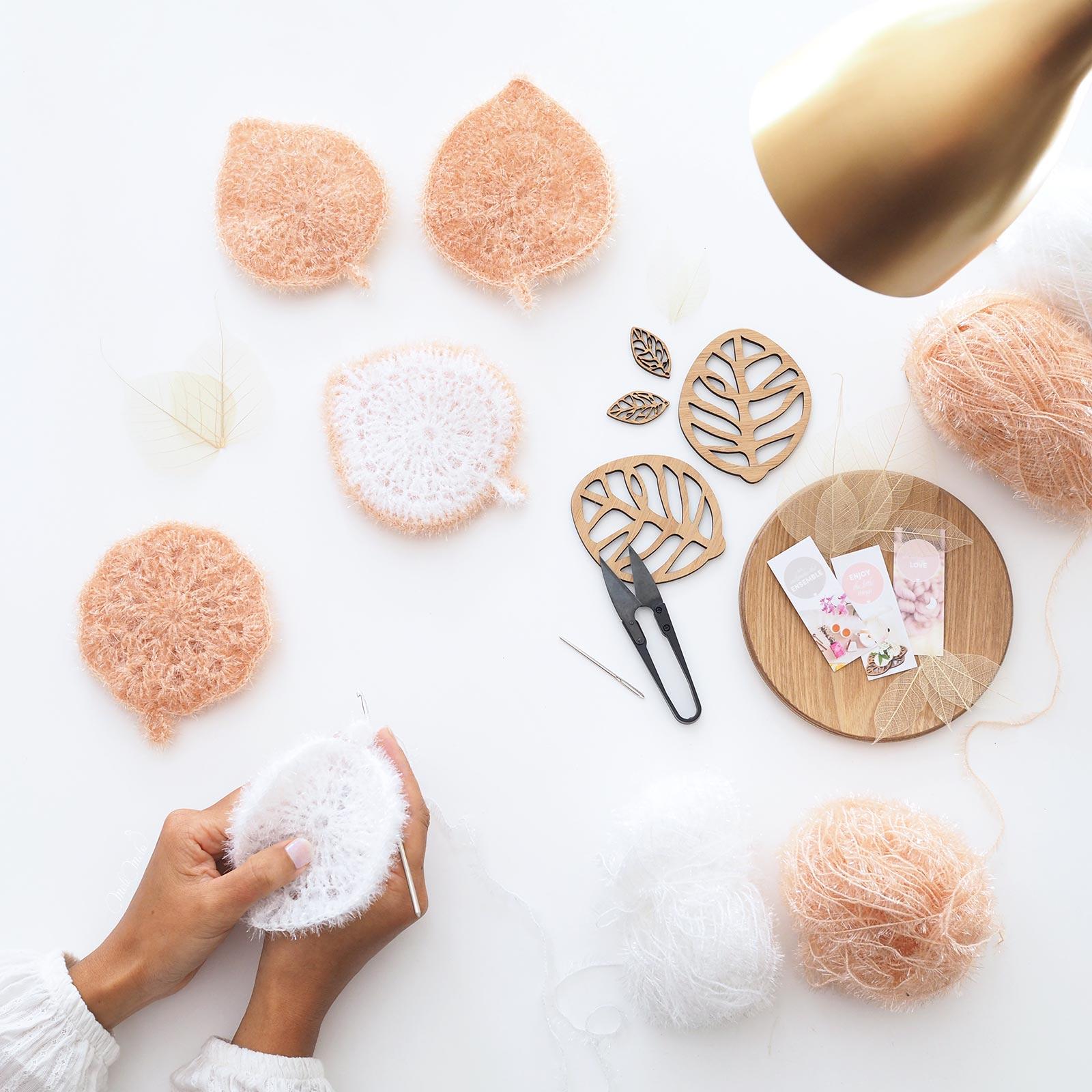 éponges Tawashi au crochet feuille fleur de douche Creative Bubble Rico Design laboutiquedemelimelo