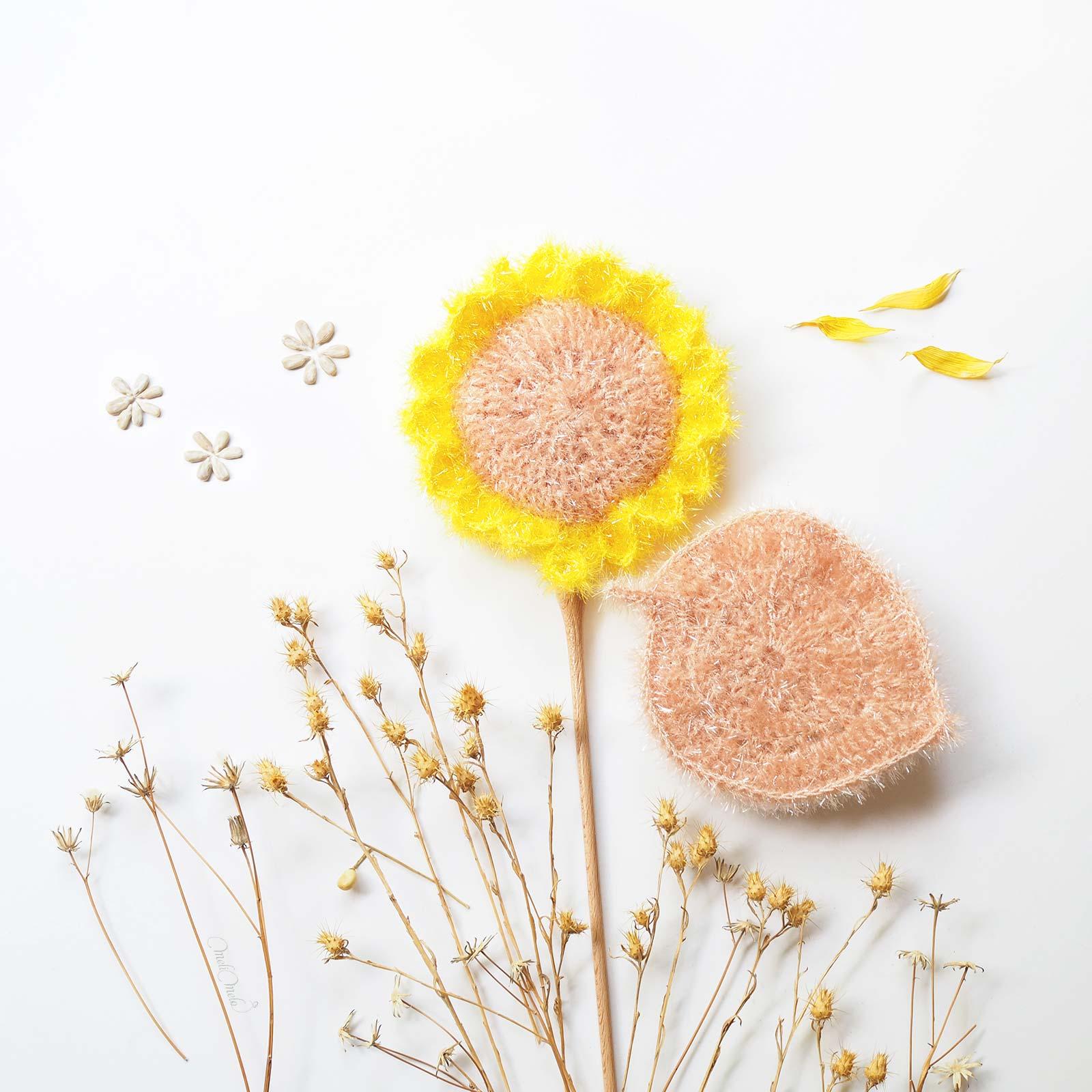 éponges Tawashis Fleur de Tournesol Sunflowers poudre vaisselle corps Creative Bubble laboutiquedemelimelo