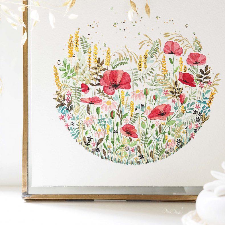 tirage-art-papier-hahnemuhle-fleurs-coquelicot-herbes-folles-aquarelle-watercolor-laboutiquedemelimelo