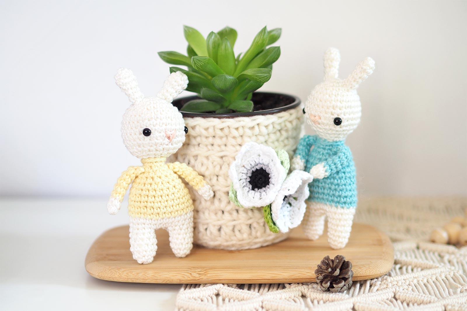 crochet lapin cache-pot baby gardening succulent Haworthia Cymbiformis La Boutique de MeliMelo