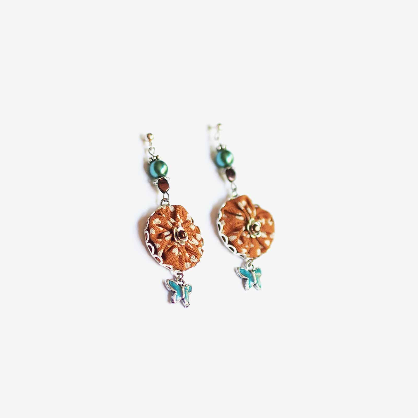 pendants oreilles Marui papillons fleur Swarovski laboutiquedemelimelo