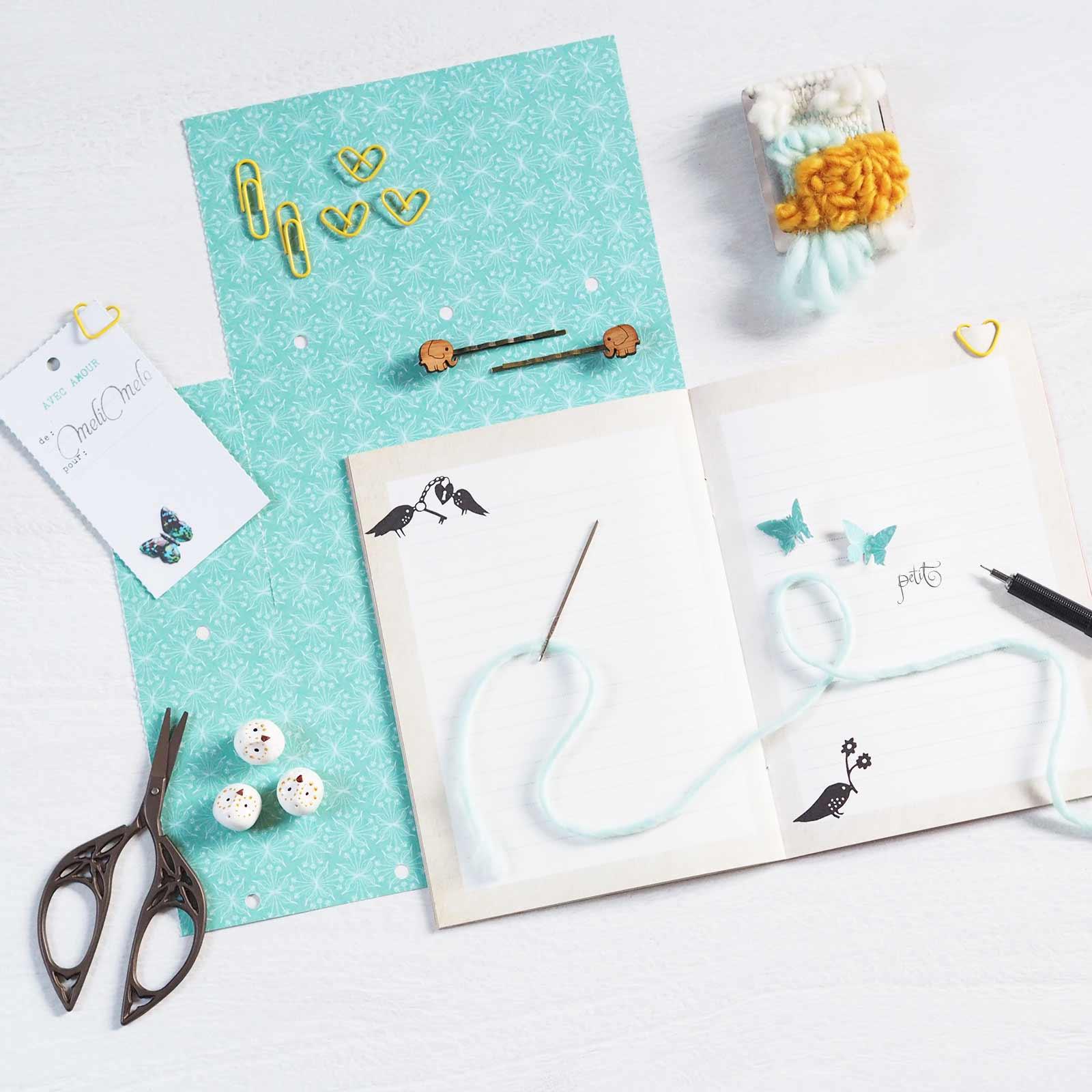 happymail bleu douceur crafts scrapbooking mini tissage laboutiquedemelimelo