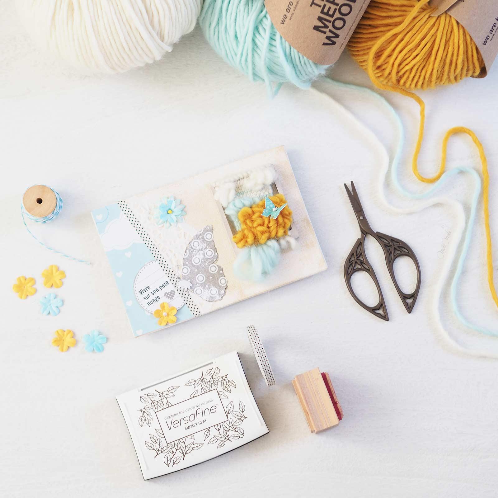 happymail bleu mini-tissage en laine merinos weareknitters carte postale crafts scrapbooking weareknitters The Meri Wool laboutiquedemelimelo