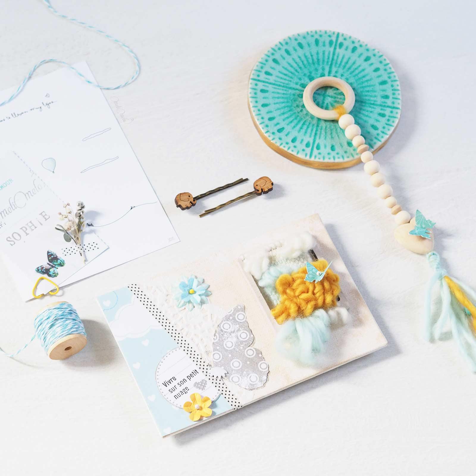 happymail bleu mini-tissage en laine merinos weareknitters carte postale crafts scrapbooking laboutiquedemelimelo