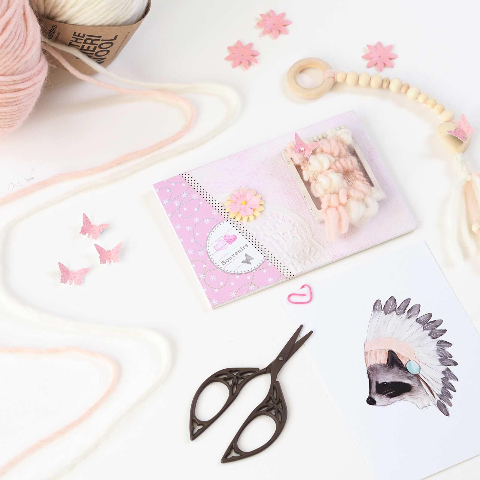 wip happymail rose mini-tissage en laine merinos weareknitters carte postale crafts scrapbooking weareknitters latortuguitablanca laboutiquedemelimelo