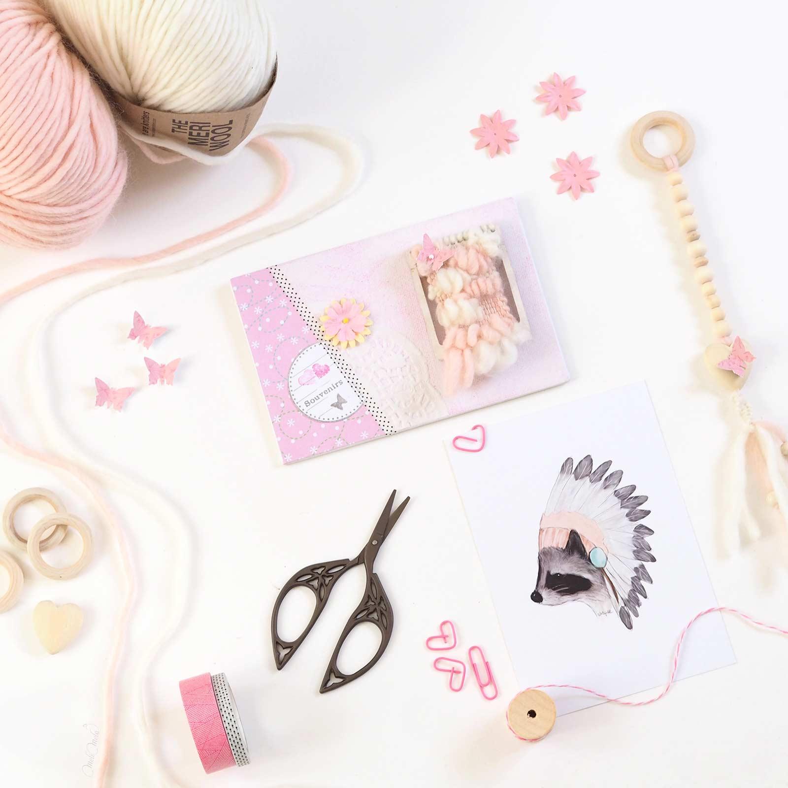 happymail rose mini-tissage en laine merinos weareknitters carte postale crafts scrapbooking weareknitters latortuguitablanca laboutiquedemelimelo