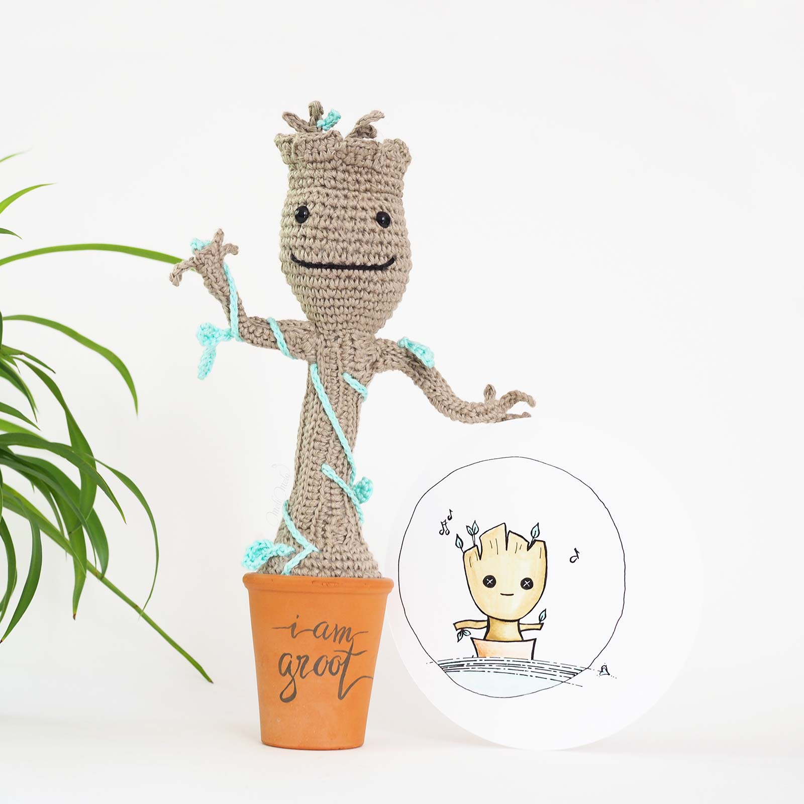 Groot dancing Guardians of the Galaxy illustration handmade watercolor laboutiquedemelimelo
