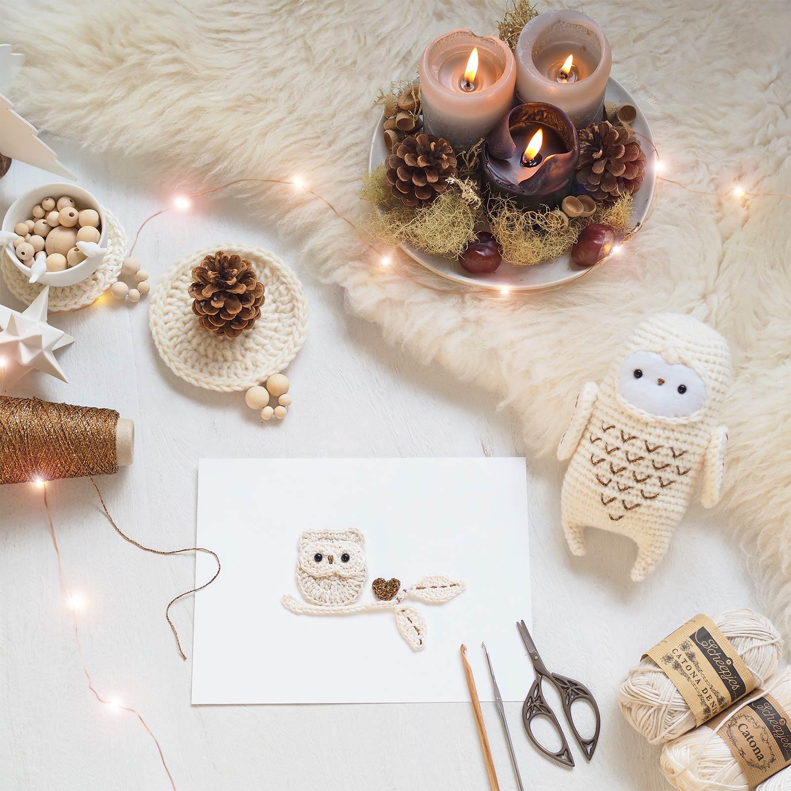 illustration crochet chouette hedwige harfang neige cadeau noël christmas laboutiquedemelimelo